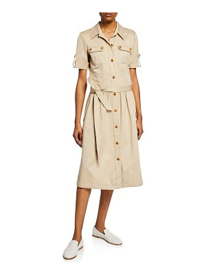 Tory Burch Safari Button-Front Short-Sleeve Cotton Shirtdress