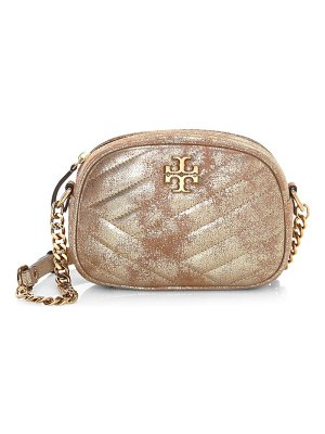 Tory Burch small kira chevron metallic leather camera bag