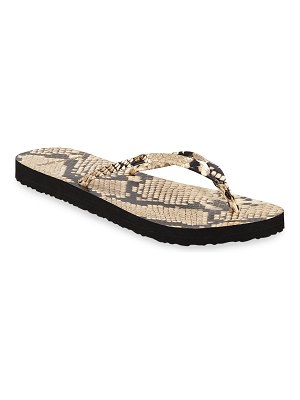 Tory Burch Snake-Print Flat Thong Sandals