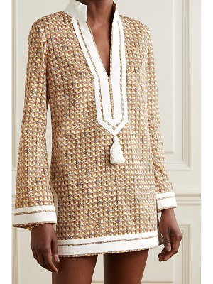 Tory Burch tasseled grosgrain-trimmed printed cotton tunic