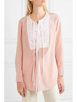 Tory Burch tie-front silk crepe de chine and cotton blouse