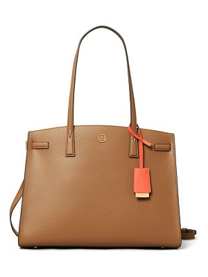Tory Burch Walker Pebbled Triple-Compartment Satchel Bag