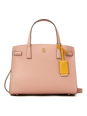 Tory Burch Walker Small Pebbled Triple-Compartment Satchel Bag