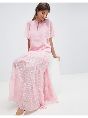 TRAFFIC PEOPLE Chiffon Polka Dot Maxi Dress