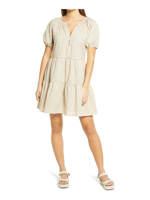Treasure & Bond check puff sleeve minidress