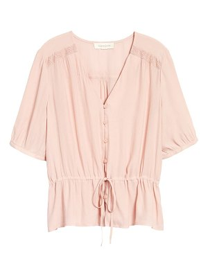 Treasure & Bond lace trim drawstring shirt
