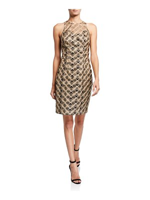 Trina Turk Metallic Origami Embroidered Sleeveless Sheath Dress