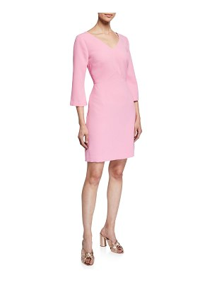 Trina Turk Permit Long-Sleeve Crepe Dress w/ Drawstring-Waist