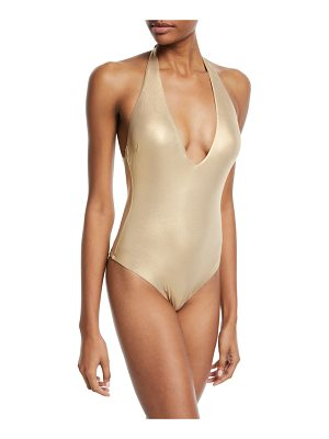 TRINA TURK Shine-On Plunging Halter One-Piece Swimsuit