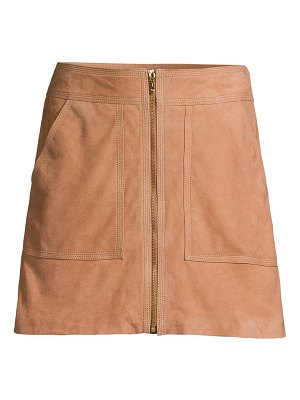 Trina Turk wine country harvest suede a-line mini skirt