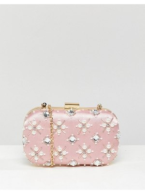 True Decadence blush embellished pearl box clutch bag
