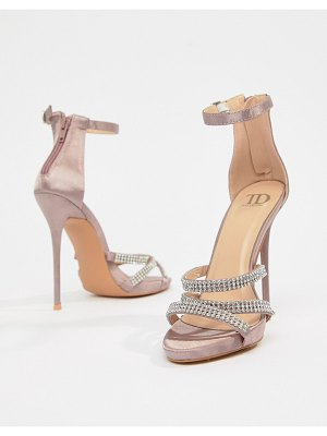 True Decadence Blush Satin Embellished Strappy Sandals