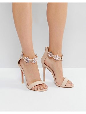 TRUE DECADENCE Embellished Ankle Strap Heeled Sandals