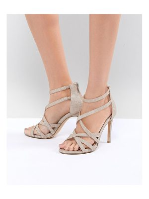 True Decadence light gold sparkle strappy sandals
