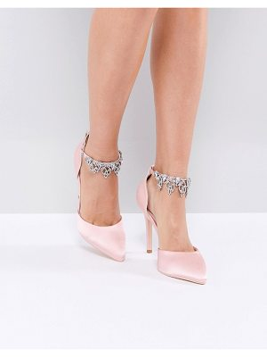TRUE DECADENCE Light Pink Embellished Pumps