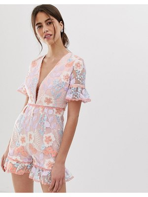 True Decadence premium allover embroidered romper with ruffle hem in multi