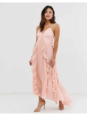 True Decadence premium cami dress with ruffle and pleated skirt in peach-pink