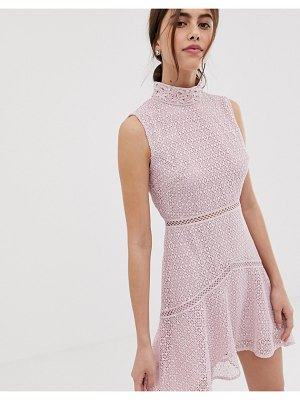 True Decadence premium high neck lace midaxi dress with contrast trim in pink