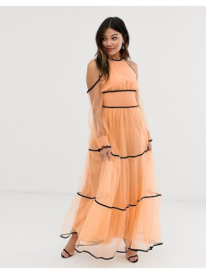 True Decadence premium off shoulder maxi dress with contrast trim in apricot