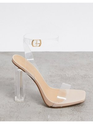 Truffle Collection clear heeled sandals in beige-neutral