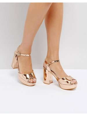 Truffle Collection metallic platform heeled sandal