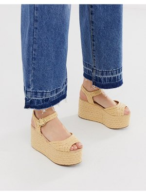 Truffle Collection raffia flatform espadrilles