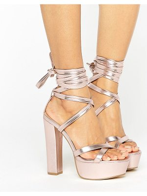 TRUFFLE COLLECTION Tie Ankle Platform Heeled Sandals