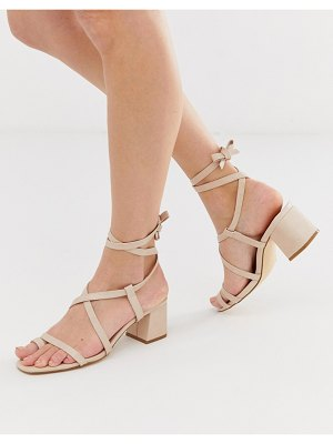 Truffle Collection toe loop tie leg heeled sandals