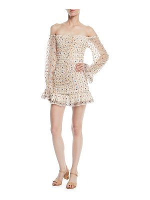 Tularosa Kassandra Off-the-Shoulder Embroidered Mini Dress