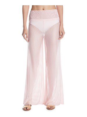Tularosa Lara High-Waist Striped Wide-Leg Coverup Pants