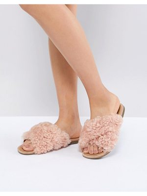 UGG Joni Pink Shaggy Cross Strap Slides