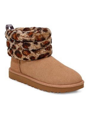 Ugg ugg mini fluff quilted animal print boot