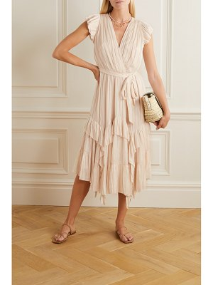 Ulla Johnson abella asymmetric ruffled crinkled-satin dress