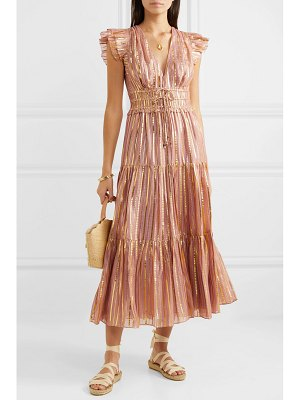 Ulla Johnson justyne metallic tiered silk and lurex-blend midi dress