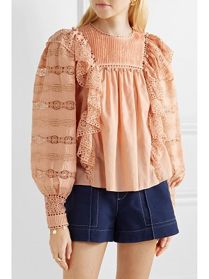 Ulla Johnson lily ruffled crochet-trimmed cotton-voile blouse