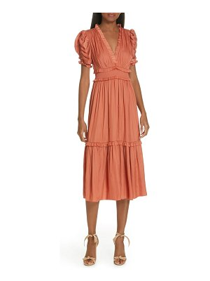 Ulla Johnson maya embroidered satin midi dress