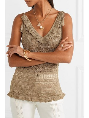 Ulla Johnson noley tasseled metallic crochet-knit tank