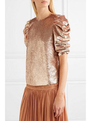 Ulla Johnson rae ruched sequined tulle top