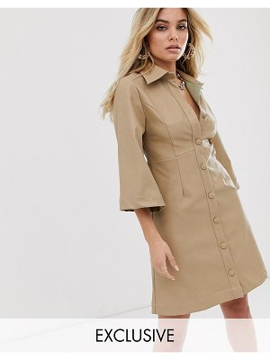 UNIQUE21 button front dress in faux leather