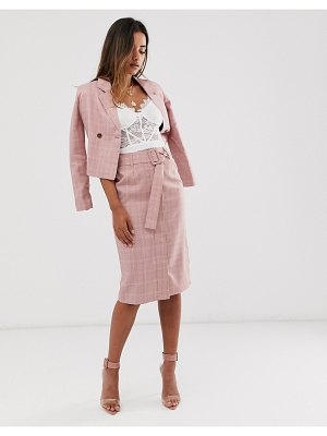 UNIQUE21 check belted skirt