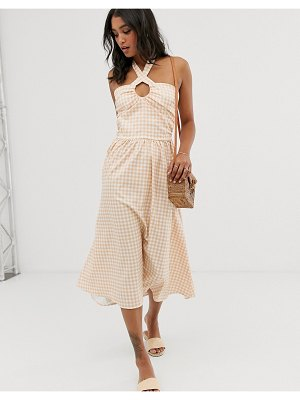 UNIQUE21 check lace up front midi dress