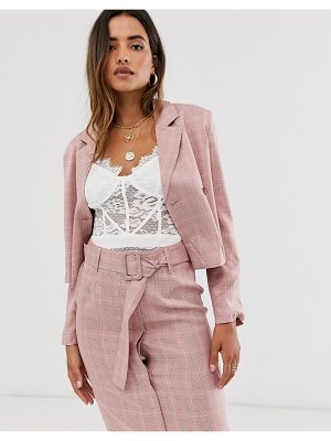 UNIQUE21 crop check blazer