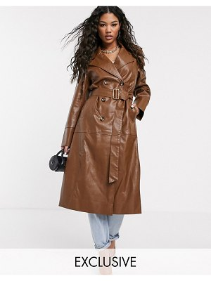 UNIQUE21 faux leather belted maxi coat
