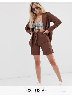 UNIQUE21 linen high waist longline shorts two-piece-brown