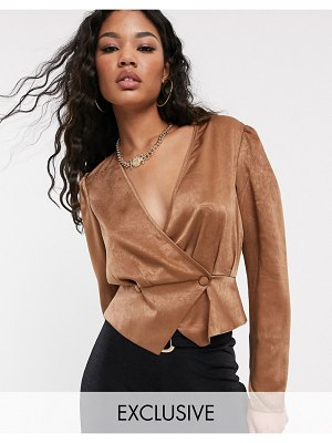 UNIQUE21 satin button front blouse
