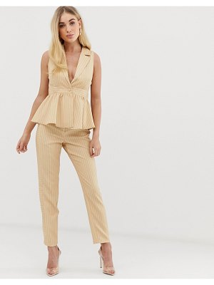 UNIQUE21 slim pants with contrast pinstripe two-piece-beige