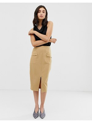 UNIQUE21 tailored high waist midi skirt with front pockets