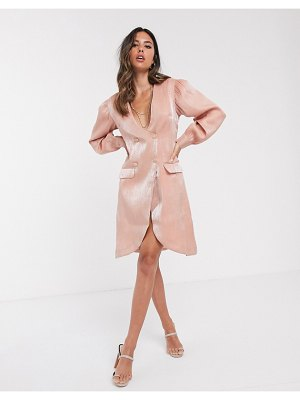 UNIQUE21 tailored shimmer blazer dress-pink