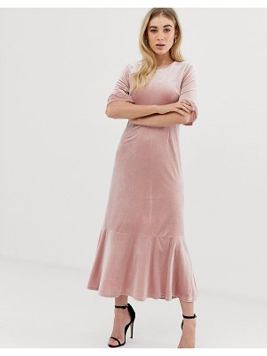 UNIQUE21 velvet midi dress with peplum hem