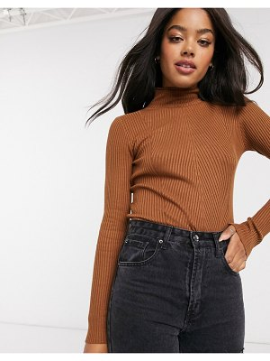 Urban Bliss jersey ribbed high neck sweater in brown